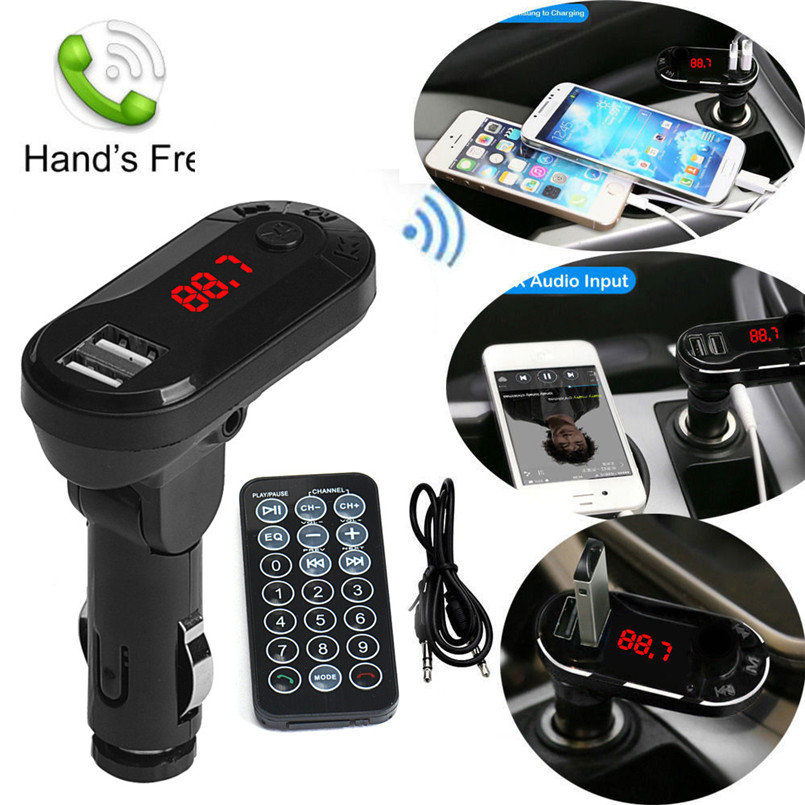 все цены на 12 V 24V New Car-styling Bluetooth Wireless FM Transmitter MP3 Player Handsfree Car Kit USB TF SD Remote Black онлайн