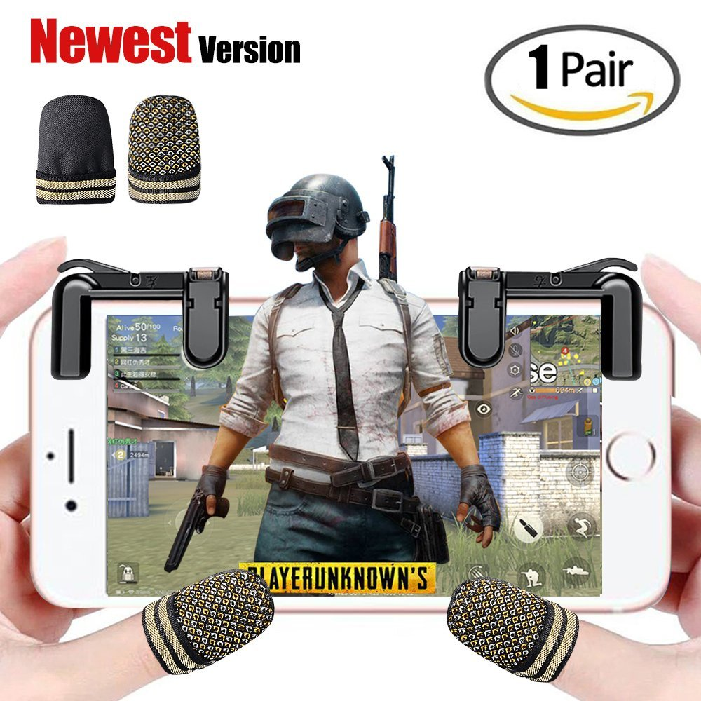 1 Pair Sensitive Shoot and Aim Buttons L1R1 Controller Gamepad With Touch Screen Thumb Cap For Fortnite PUBG Mobile Game
