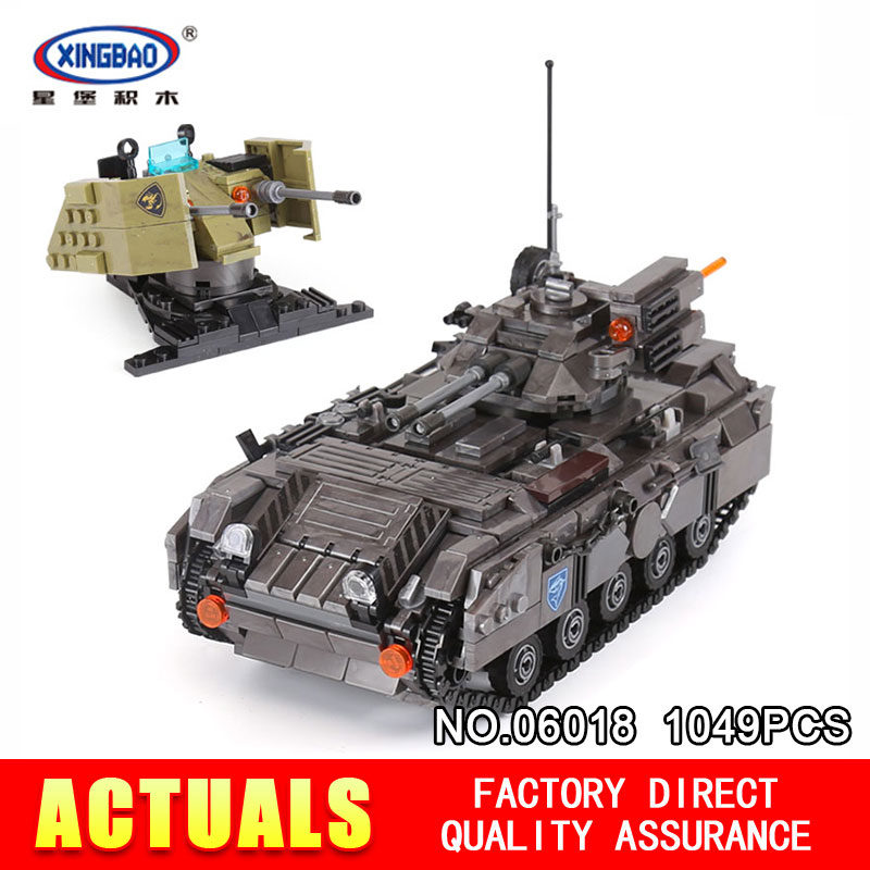 XingBao 06018 1049Pcs Genuine Military Series The Armoured Vehicle Set Building Blocks Bricks Educational Toys Model to Children xingbao 06009 military series the extreme snowmobiling sets legoinglys building nano blocks bricks toys for children kids