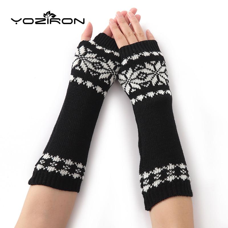YOZIRON Fashion Snowflake Shape Women Knit Arm Warmers Winter Knit Long Sleeves Gloves For Woman Girls Fingerless Gloves