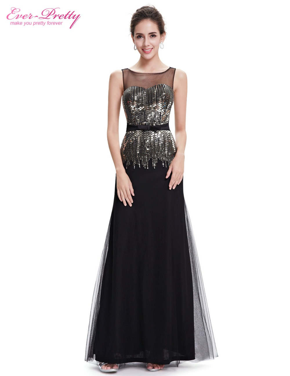 [Clearance Sale] Sexy Evening Dresses Ever Pretty HE08602 Black A Line Sequins Dresses Women 2017 Backless Sparkle Dresses New