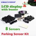 8 Sensors 22mm Buzzer LCD Parking Sensor Kit Display Car Reverse Backup Radar Monitor System 12V