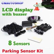 8 Sensores 22mm Zumbador Sensor de Aparcamiento LCD Pantalla del Kit Monitor de Reserva Del Radar Del Revés Del Coche Sistema de 12 V