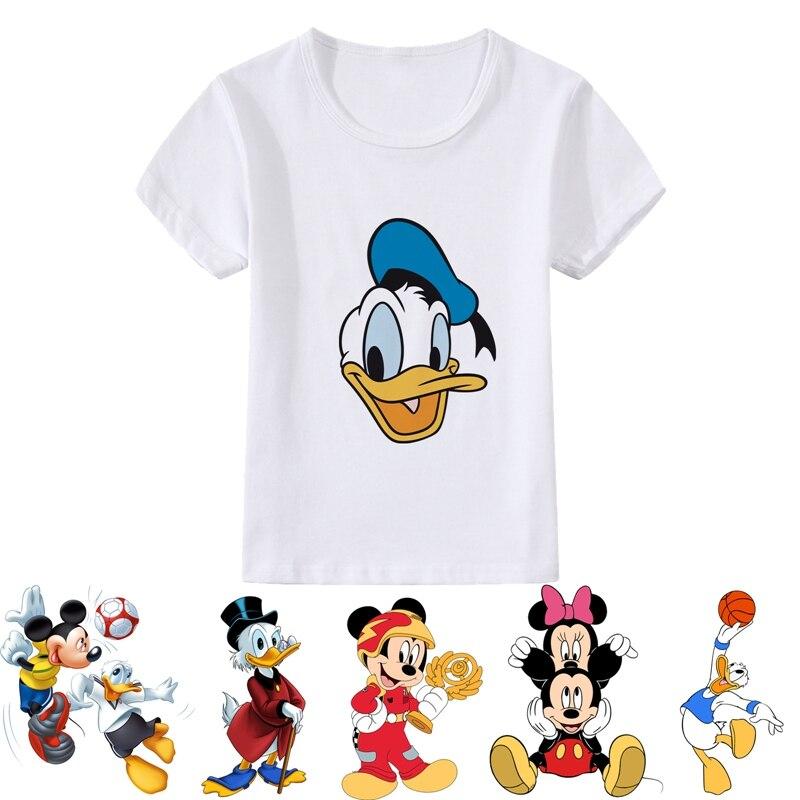 Donald Duck Cute And Funny Cartoon Patterns Modal Summer Kidswear, Boy/girl Summer T-shirt Short Sleeve White Kid Clothes