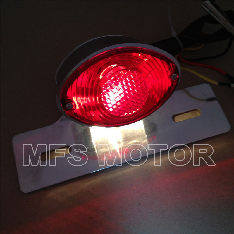 Red Motorcycle parts License Plate Brake Tail Light For Harley Davidson For Ducati Monster Universal Cruiser Street