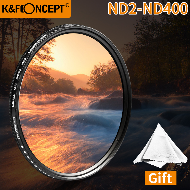 K & F concepto 43mm densidad neutra Fader Variable ND4 ND8 ND16 ND2 a ND400 lente ajustable ND delgada filtro de envío gratis