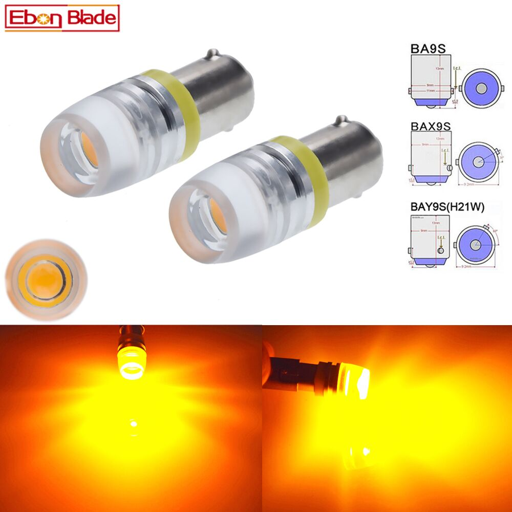 2 x BA9S T4W BAX9S H6W BAY9S H21W Car LED Indicator Lamp Interior Dome Map Light Side Wedge Marker Bulb Amber Yellow 6V 12V 24V-in Signal Lamp from Automobiles & Motorcycles