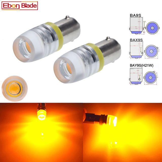 2 x BA9S T4W BAX9S H6W BAY9S H21W Car LED Indicator Lamp Interior Dome Map Light Side Wedge Marker Bulb Amber Yellow 6V 12V 24V