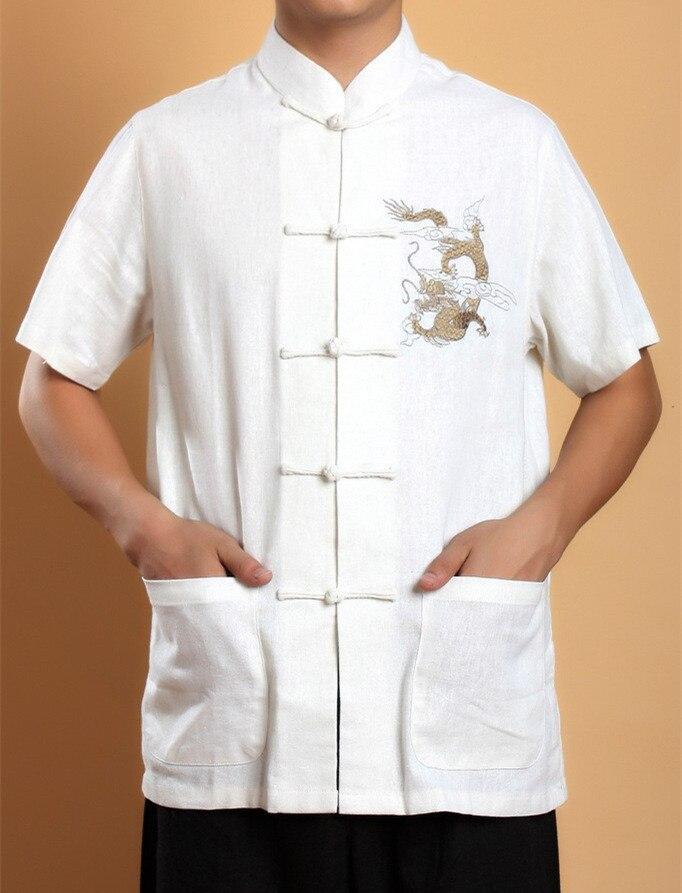 뜨거운 판매 화이트 중국 남성 코튼 린넨 쿵푸 셔츠 탑 자수 Hombre Camisa 용 크기 S M L XL XXL XXXL 2999-3