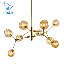 New Nordic contracted creative personality, wrought iron lampAmerican led lamps  glass ball sitting room  magic beans droplight magic beans dna lustres wrought iron industrial cafe project 5 lamps nordic art deco glass ball led pendant hanging lights