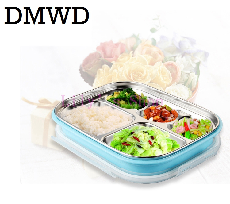 MINI Stainless steel insulation heating lunch box children lunch boxes snack Food Container pupils portbale 5 Lattice boxes tray cp 33 heat preservation stainless steel electric heating lunch box w egg tray spoon white