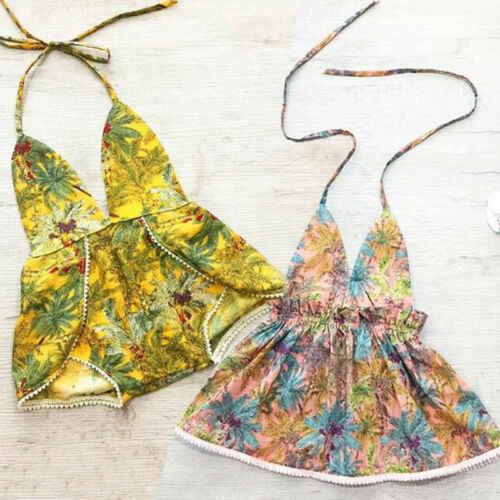 Bayi Balita Gadis Pakaian Renang K Berlaku Daun Cetak Rompi Musim Panas Pakaian Renang Baju Renang Bikini Pantai Sunsuit Pakaian