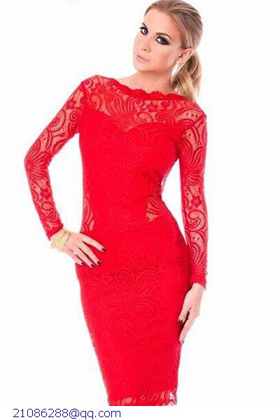 65279c7c0767e High Quality Vintage Red Lace Bodycon Sexy Backless Party Knee Length Midi  Dresses Long Sleeve For Woman Vestidos Renda LC6754