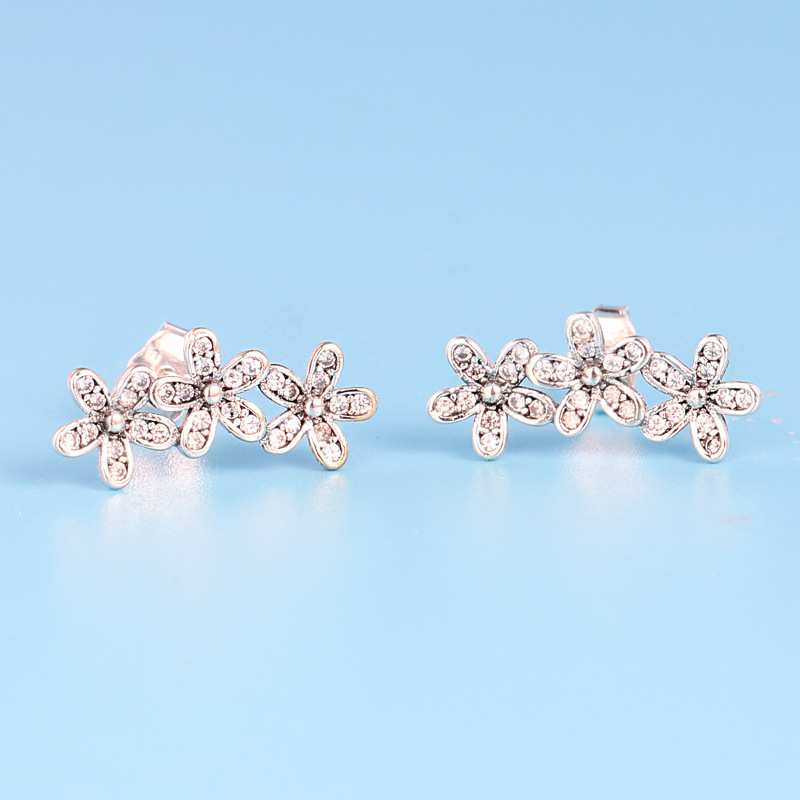 bda4aee59 Aliexpress.com : Buy 925 Sterling Silver Pandora Earring Dazzling Daisy  Clusters With Crystal Studs Earring For Women Wedding Gift Fine Jewelry  from ...