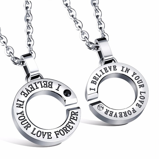 Stainless steel couple necklace lovers jewelry pendant necklace men stainless steel couple necklace lovers jewelry pendant necklace men women romantic necklace boy girl forever love mozeypictures Image collections