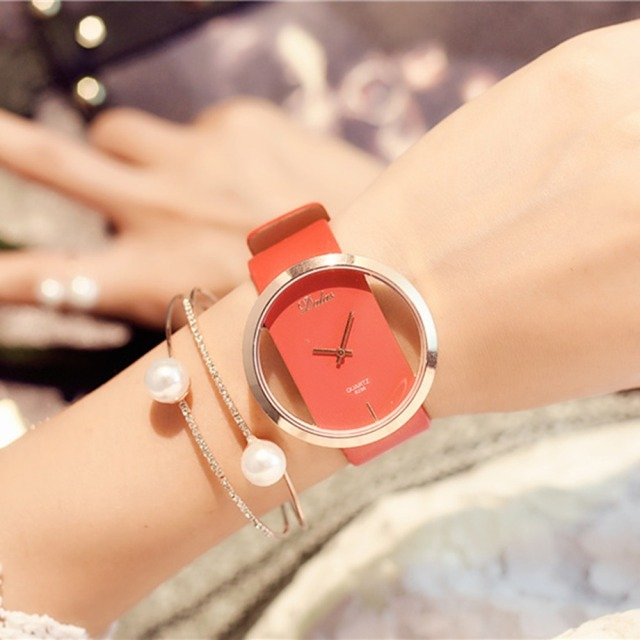 Hot Fashion Women Watch Luxury Leather Skeleton Strap Watch Women Dress Watch Casual Quartz Watch Reloj Mujer Wristwatch Girl 4