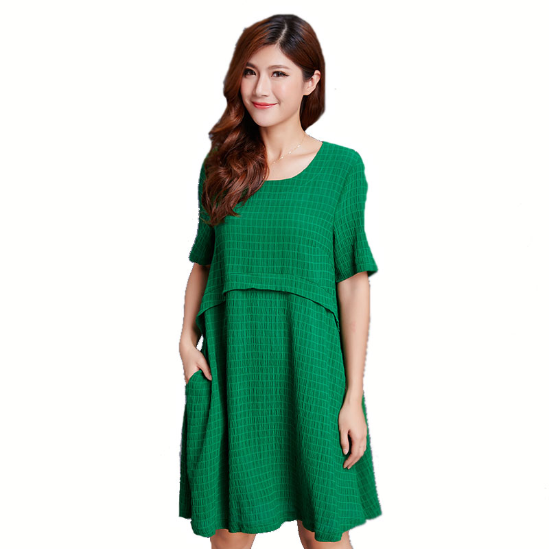 plus size women summer dress o neck cotton 2018 new arrival loose xl xxl xxxl 4xl