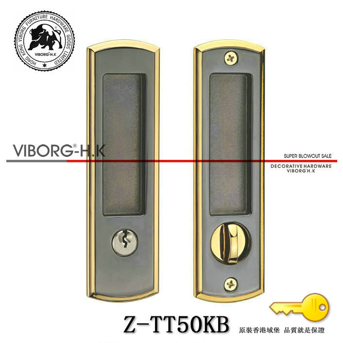 VIBORG Top Quality Zinc Alloy Sliding Door Mortise Lock Set, Mortise Lock for Sliding Door, Z-TT50KB