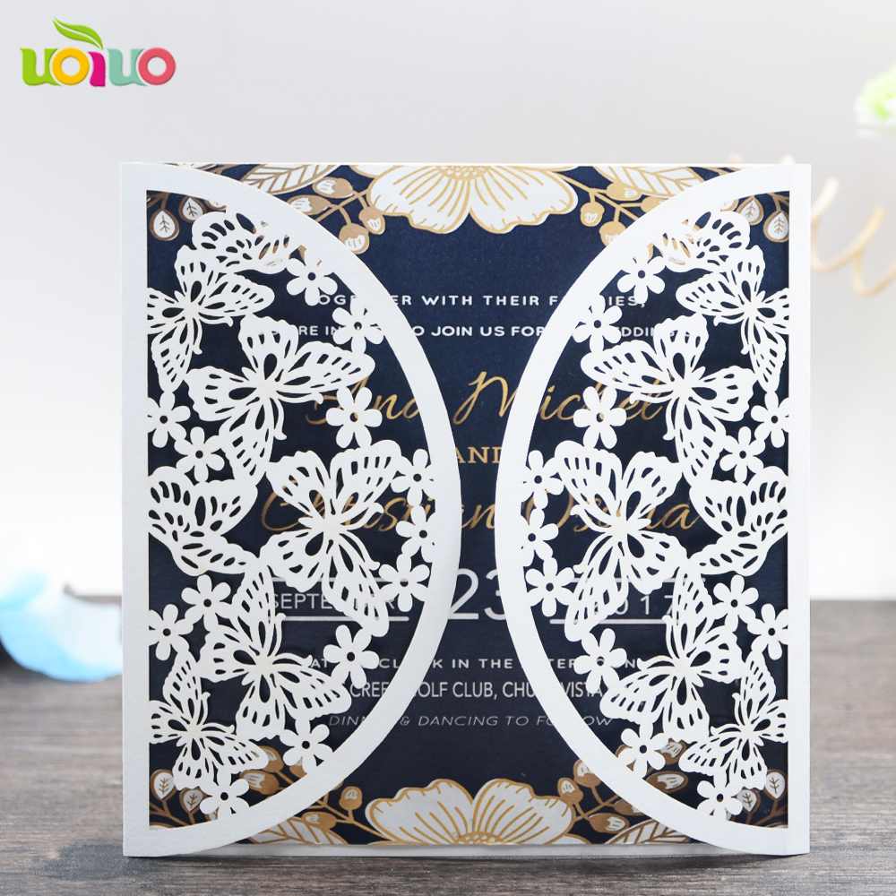 white and gold wedding invitation card tri fold laser cut 3d create ...