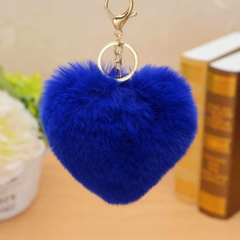 Chaveiro coração Chaveiro Pompom Fofo Saco de Carro Bola de Pêlo de Coelho Pompom ouro Anel Chave Chaveiros Jóias Mulheres Pom Pom feminino