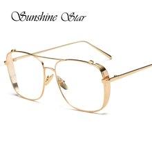 Pop Age Fashion Glasses Metal Frame Women Brand Designer Square Vintage Men Plain Eyeglasses Clear Lens Glasses Oculos