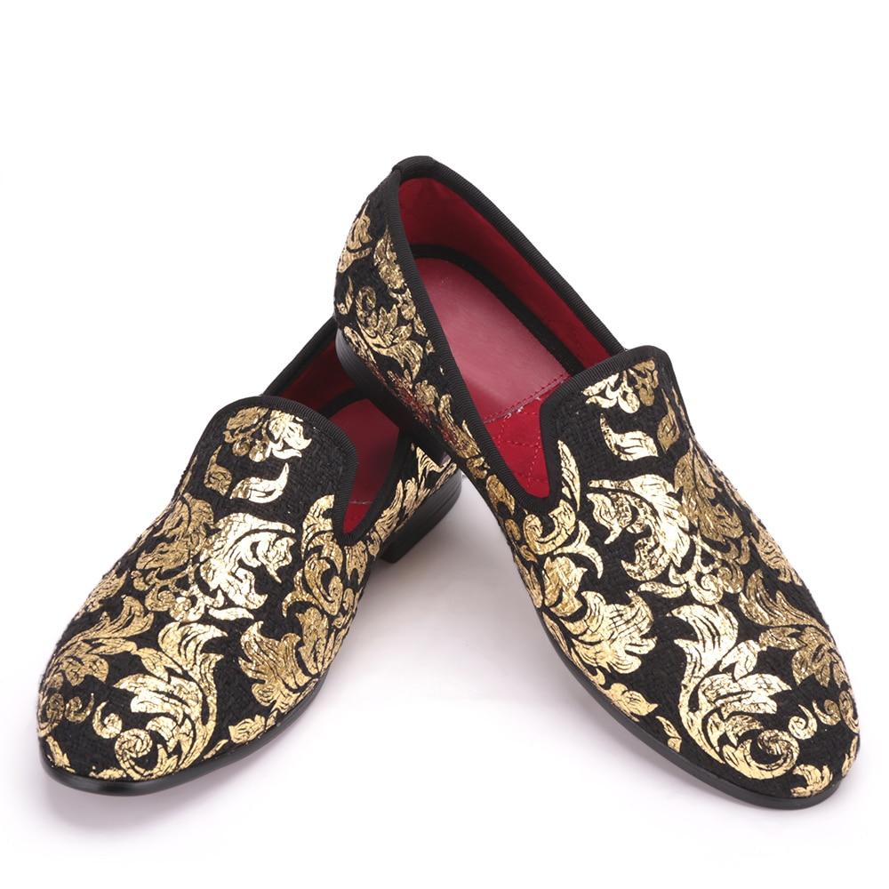 High-end de Ouro impressão Homens Sapatos de Luxo de Moda Homens Preguiçosos dos homens Flats homens sapatos de casamento