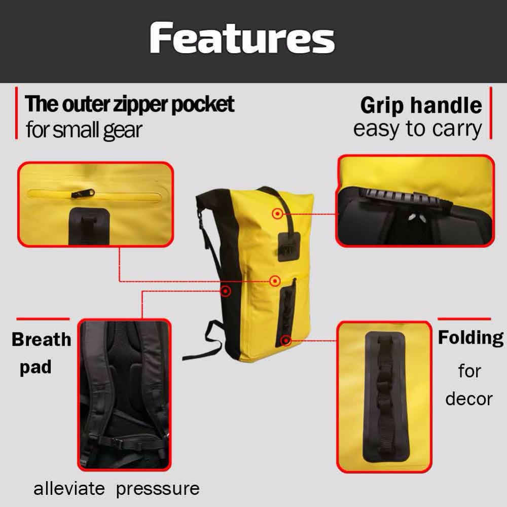 32L al aire libre río Trekking bolsa doble correas de hombro Paquete de agua natación mochila bolsas a prueba de agua para la deriva kayak - 2