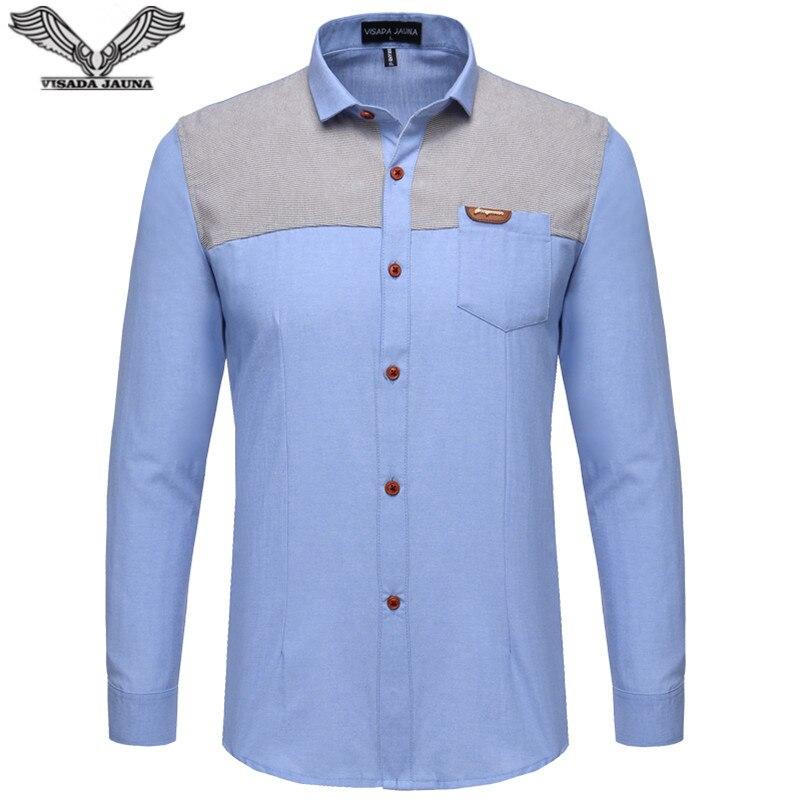 VISADA JAUNA 패치 워크 슬림 맨 셔츠 2017 새로운 도착 캐주얼 브랜드 의류 남성 비즈니스 드레스 긴 소매 플러스 사이즈 5XL N1182
