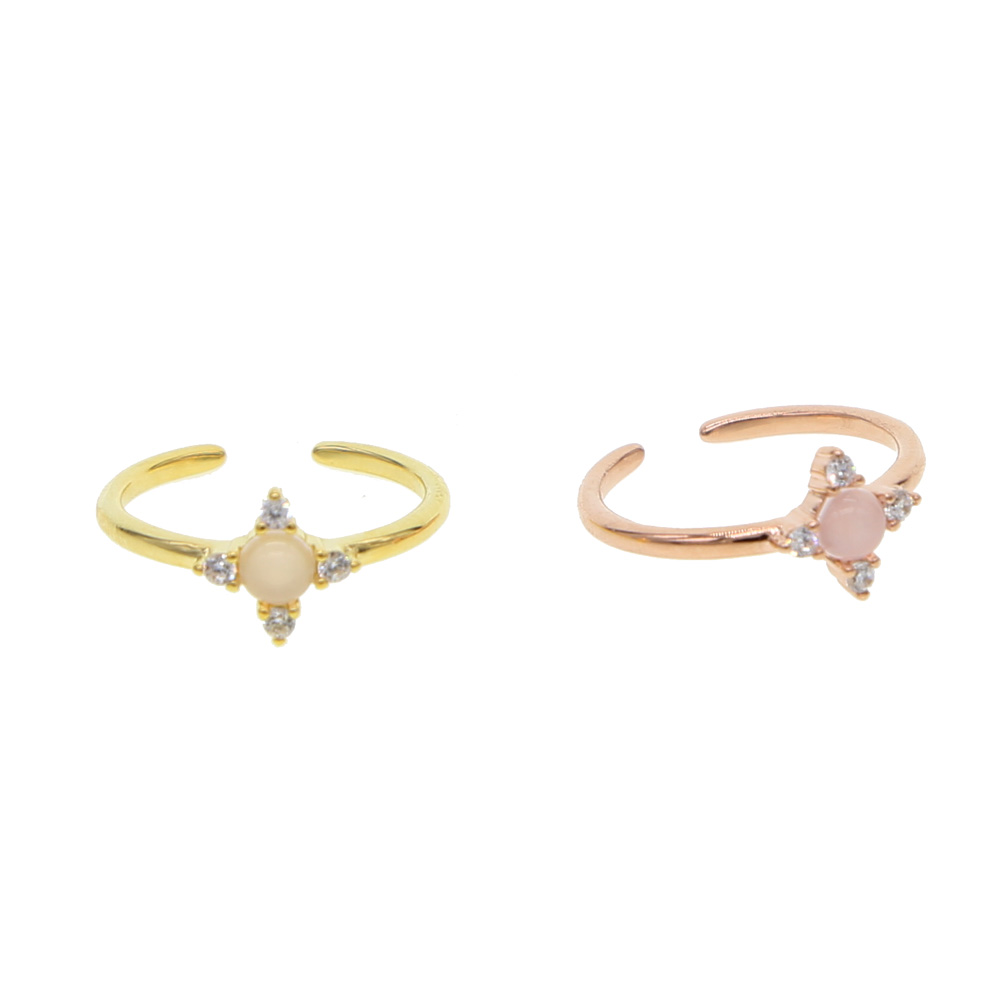 Korean European pinkie finger Open Ring Rose Gold Color simple stone rings For Women Statement Adjustable Ring Wholesale
