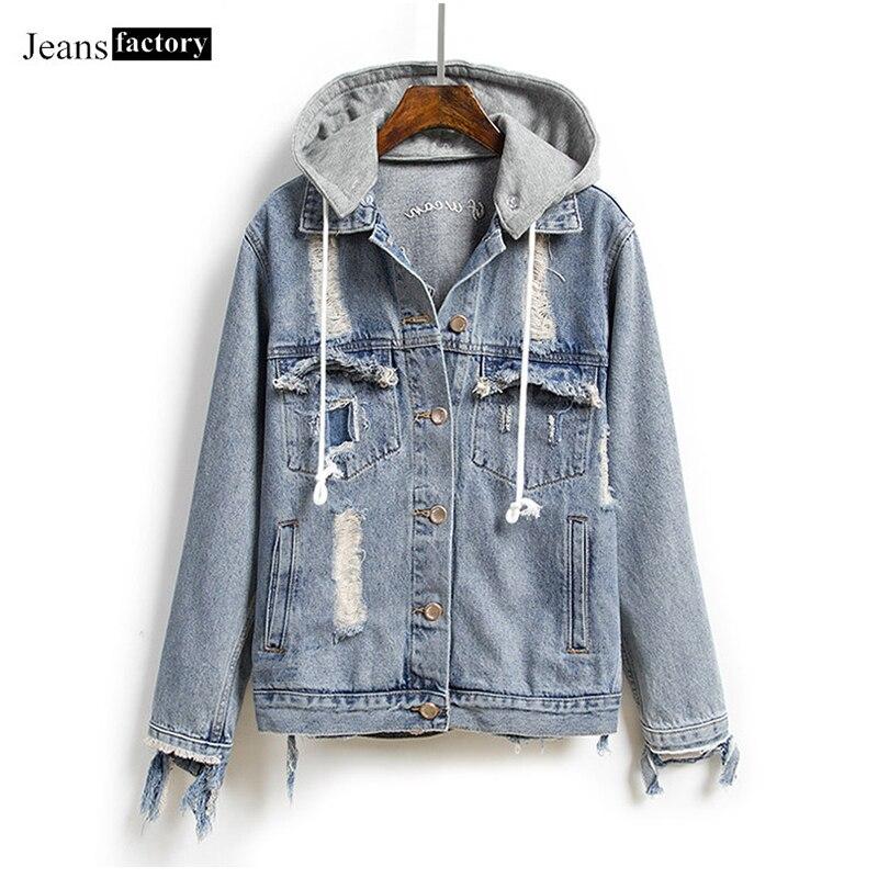 Nouveau veste en jean ample femmes à manches longues trou jean manteaux vestes brodées femme décontracté Bomber à capuche veste manteau Streetwear