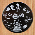 Halloween Design Round Stainless Steel Nail Plates hehe60 Series Nail Art Image Konad Print Stamp Stamping  Manicure Template