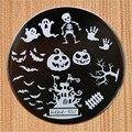 Projeto do dia das bruxas hehe60 Série Redonda de Aço Inoxidável Placas de Unhas Nail Art Stamp Estamparia Imagem Konad Imprimir Template Manicure