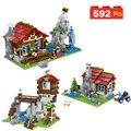 Mi mundo montaña logia bloques de construcción mina mundo Technic construcción juguetes compatibles LegoINGLYS Minecrafter para niños 592 unids