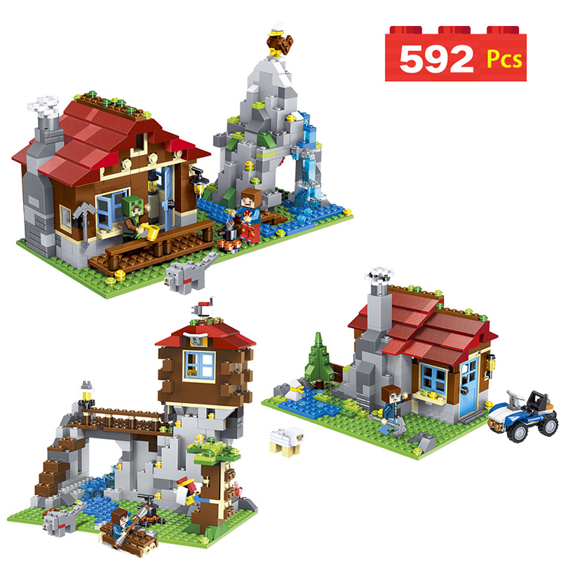 My World Mountain Lodge Building Blocks Mine World Technic Construction Toys Compatible LegoINGlys Minecrafter For Kid 592 Pcs hot toys nanoblock world famous architecture statue of liberty building blocks mini construction brick model iblock fun for kid