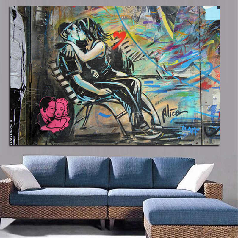 HD Print Graffiti Poster Kissing Couple Realistic Oil Painting on Canvas Abstract Pop Art Wall Picture Living Room Sofa Cuadros