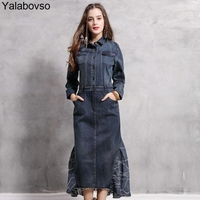 2019 Spring Autumn Vintage Denim Dress Women Sexy Slim Jean Dresses Fashion High Quality Dress with Zipper swallow tail A50Z40