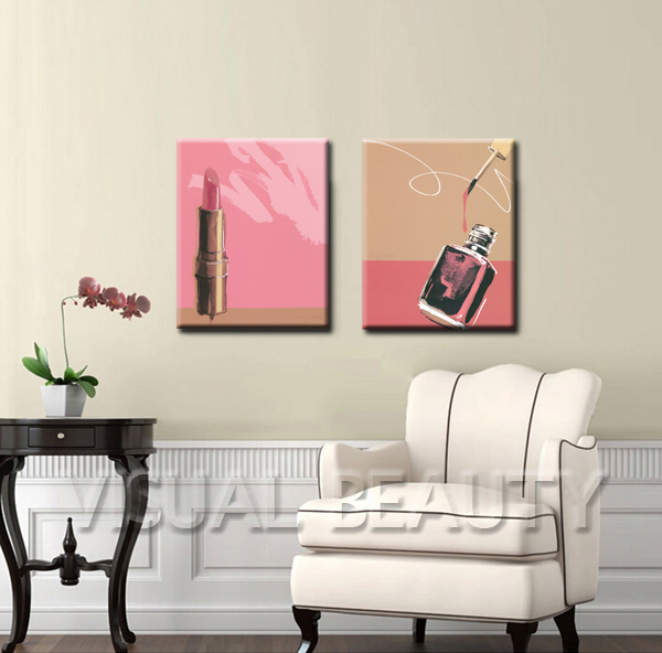 FREE SHIPPING Lipstick and Nail Polish Photos Oil Painting Art Canvas Print Paintings(Unframed)50x60cmx2pcs