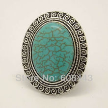 RR102 European Royal Big Oval Howlite Stone Tibetan Silver Color vintage retro Exaggerated RING jewelry