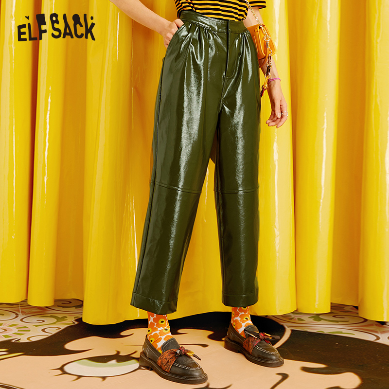 ELFSACK Army Green Solid Vintage Leather Pants Women 2019 Autumn Mid Waist Streetwear Straight Female Office Ladies Trousers