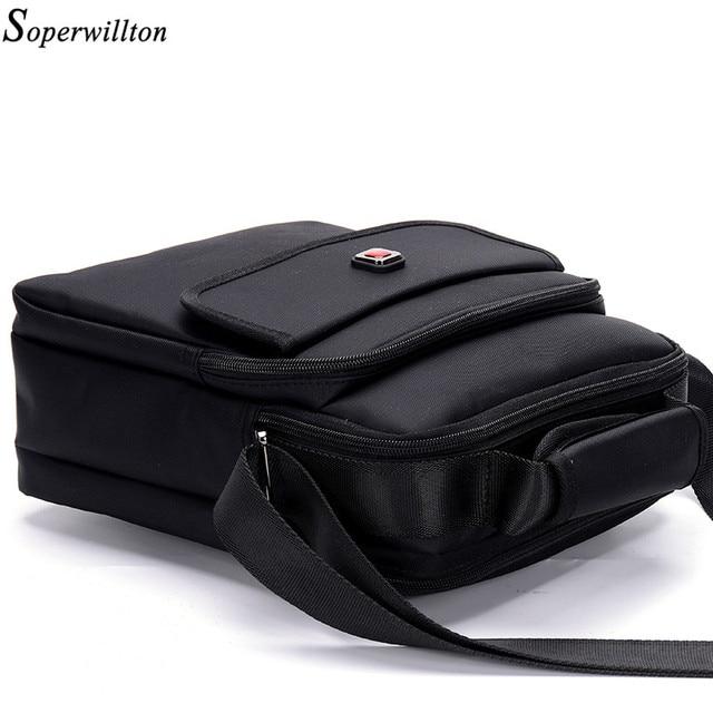 Soperwillton Brand 2017 Fashion Men's Bag Men Messenger Bags Soft Handle Handbag Shoulder Crossbody Bag Male Black Color #1057
