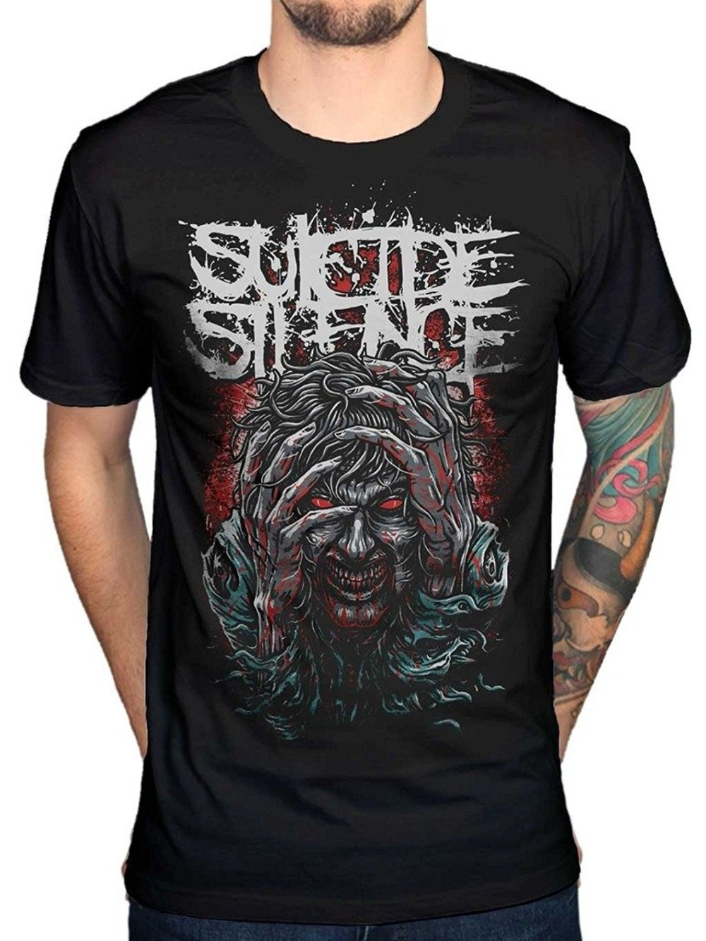 fashion men 39 s t shirt suicide silence ocd t shirt deathcore band music rock cotton men 39 s funny t. Black Bedroom Furniture Sets. Home Design Ideas
