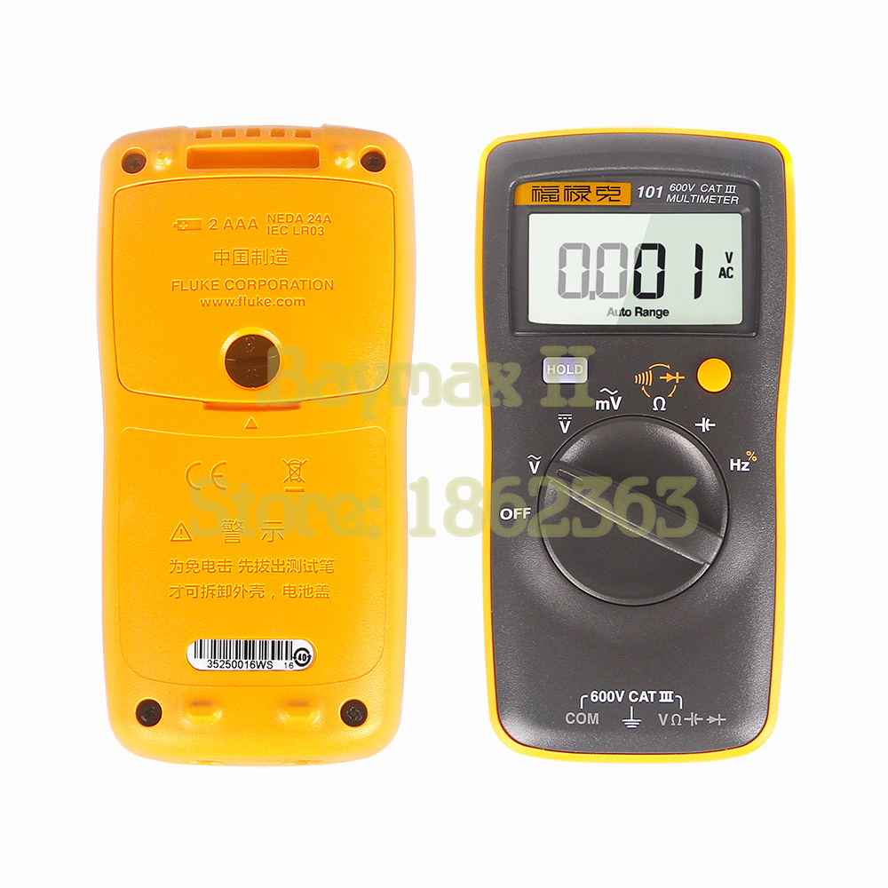 US $42 57 10% OFF|Fluke 101 Auto Range Digital Multimeter for AC/DC  Voltage,Resistance,Capacitance and Frequency Measurement-in Multimeters  from Tools