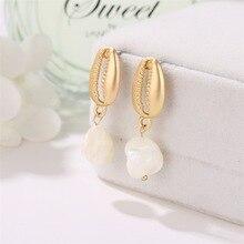 Alloy  Shell Pendant Earrings Women Brincos Handmade Silver Statement Gift Jewelry Bohemian Fashion Gifts