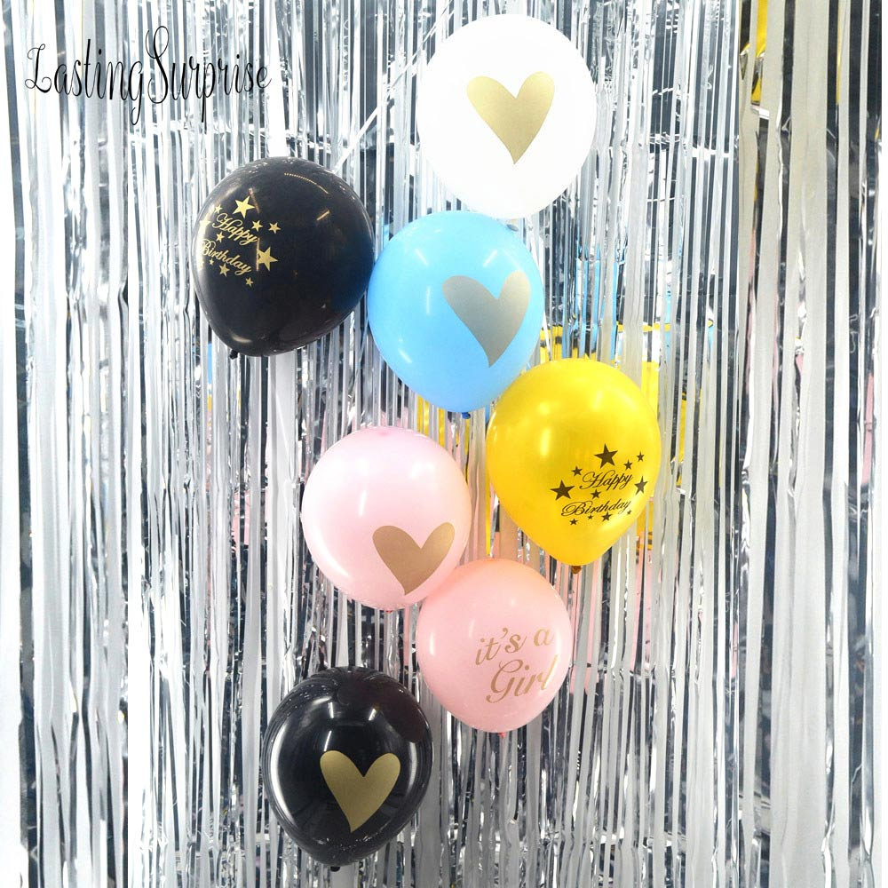 12pcs font b Baby b font Shower Balloon With Gold Glitter Shiny Written Its A Girl