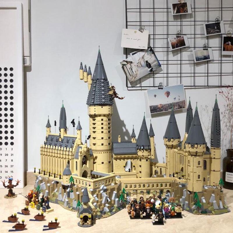 In Magazzino Harri Film Potter 6044 pcs Hogwarts Castello di Scuola Modello Compatibile con Legoings 71043 Set di Blocchi di Costruzione Per Bambini Giocattoli
