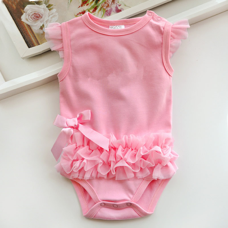 2017 Infant Baby Bebe Girl Children Cotton Climb Clothes Ruffle Bowknot Newborn Jumpsuit Playsuit Hot Romper Triangle Wholesale baby romper sets for girls newborn infant bebe clothes toddler children clothes cotton girls jumpsuit clothes suit for 3 24m