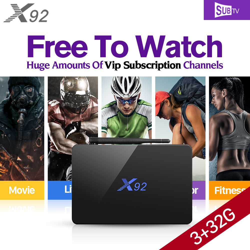 X92 Smart Android IPTV Set Top Box 3G+32G Octa Core STB 3500 Channels IPTV Abaric Europe French Subscription 1 Year