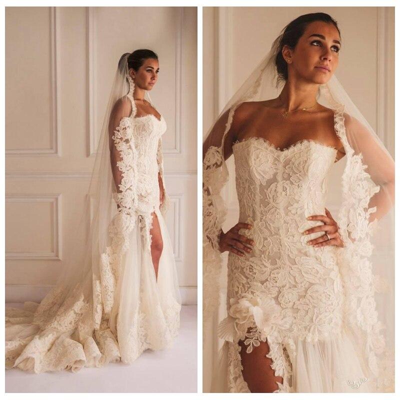 2017 Full Lace Wedding Dresses Strapless Sleeveless Side Split ...