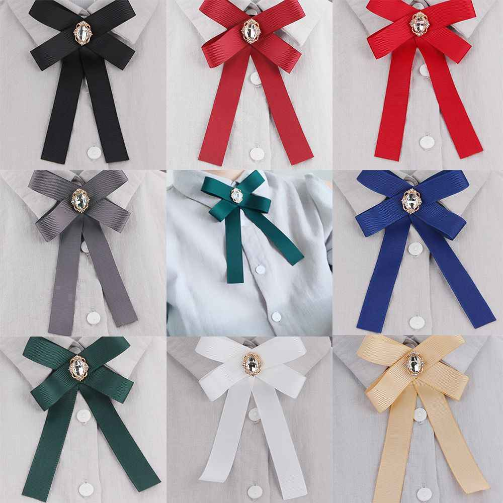 1Pc DIY Fabric Bow Brooches Fashion For Women Neck Tie Pins Party Wedding Large Ribbon Brooch Jewelry Clothing Accessories