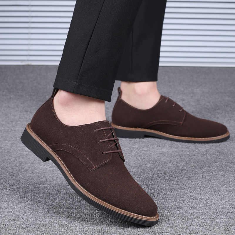 รองเท้า Pointed Toe Flock หนัง Oxford รองเท้าผู้ชายรองเท้าธุรกิจรองเท้าสบายๆ